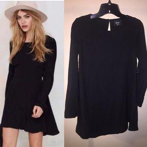 Nasty Gal Black Long Sleeve Micro Mini Dress XS
